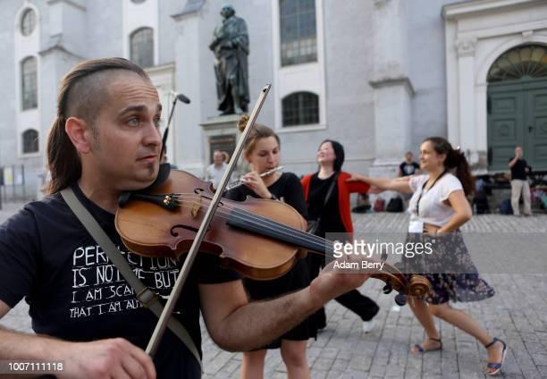 Klezmer musicians perform on Herderplatz square during Yiddish Summer Weimar on July 28 2018 in Weimar Germany The annual fourweek summer institute...