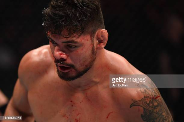 Klidson de Abreu of Brazil returns to his corner after the first round of his light heavyweight bout against Magomed Ankalaev during the UFC Fight...