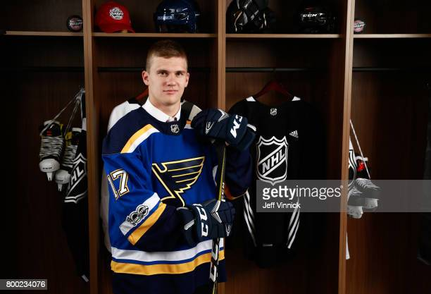 Klim Kostin 31st overall pick of the St Louis Blues poses for a portrait during Round One of the 2017 NHL Draft at United Center on June 23 2017 in...