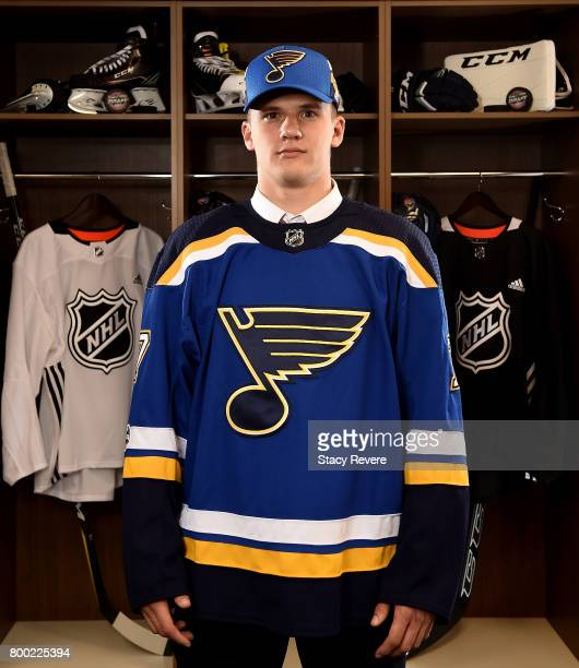 Klim Kostin poses for a portrait after being selected 31st overall by the St Louis Blues during the 2017 NHL Draft at the United Center on June 23...