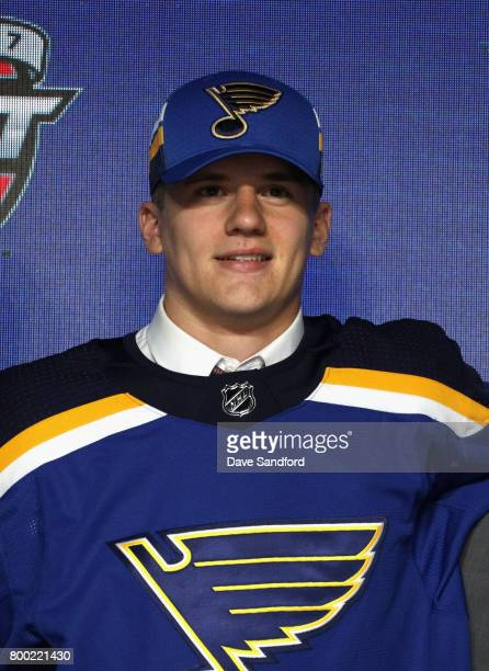 Klim Kostin poses onstage after being selected 31st overall by the St Louis Blues during Round One of the 2017 NHL Draft at United Center on June 23...