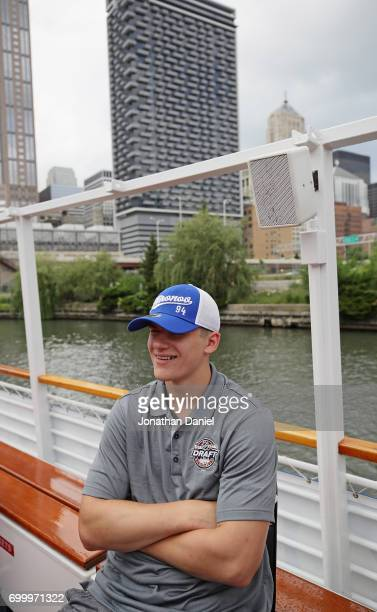 Klim Kostin speaks during the 2017 NHL Draft top prospects media availabilty on the Bright Star Boat on the Chicago River on June 22 2017 in Chicago...