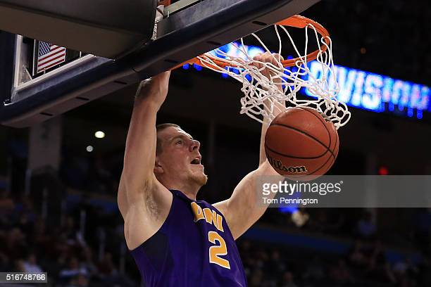 Klint Carlson of the Northern Iowa Panthers dunks the ball in the second half against the Texas A&M Aggies during the second round of the 2016 NCAA...
