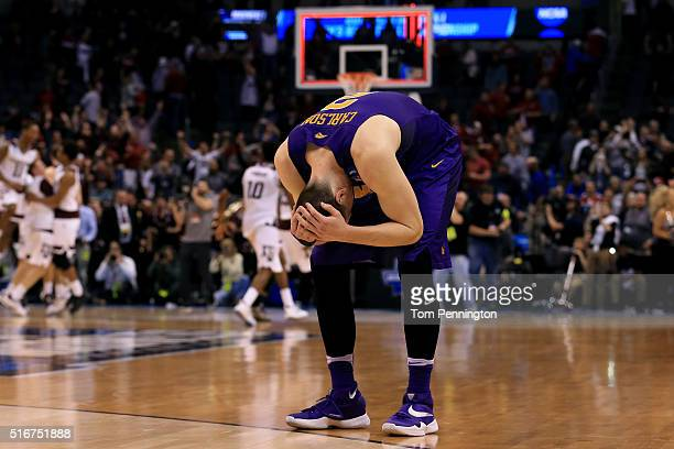 Klint Carlson of the Northern Iowa Panthers reacts after being defeated by the Texas AM Aggies in double overtime with a score of 88 to 92 during the...