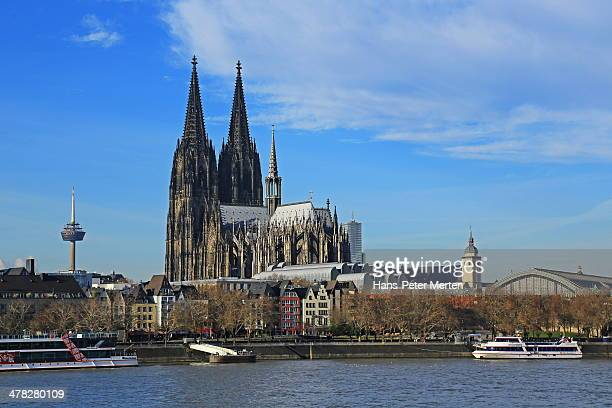 köln, dom and rhine, germany - cologne cathedral stock photos and pictures
