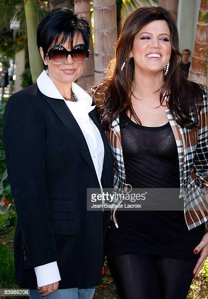 Kloe Kardashian and Kris Jenner Kardashian attend the unveiling of Khloe Kardashian's PETA 'Fur I'd Rather Go Naked' Billboard on December 10 2008 in...