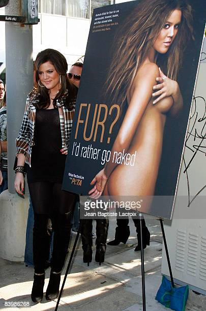 Kloe Kardashian attends the unveiling of her PETA Fur I'd Rather Go Naked Billboard on December 10 2008 in West Hollywood California