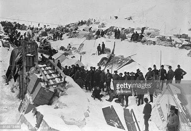 Goldseekers at Canadian custom station Chilkoot Summit Photograph