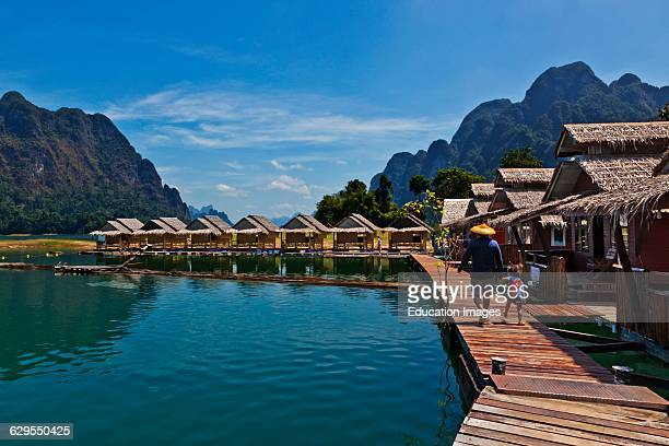 Klong Ka Raft House On Cheow En Lake In The Khao Sok National Park Thailand