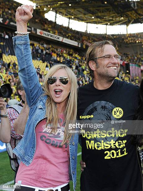 Klopp Juergen Coach Borussia Dortmund Germany celebrating Bundesliga title of season 2010/2011 after match against 1 FC Nuernberg cheering with his...