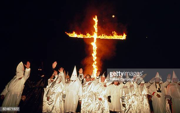 Klu Klux Klan Members Burning Cross