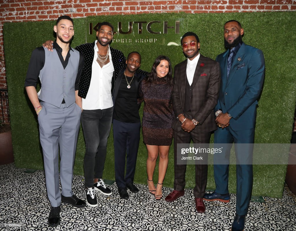 Klutch Sports founder Rich Paul and COO Fara Leff (C) pose with NBA Players Ben Simmons, Tristan Thompson, John Wall and Lebron James attend attends the Klutch Sports Group 'More Than A Game' Dinner Presented by Remy Martin at Beauty & Essex on February 17, 2018 in Los Angeles, California.