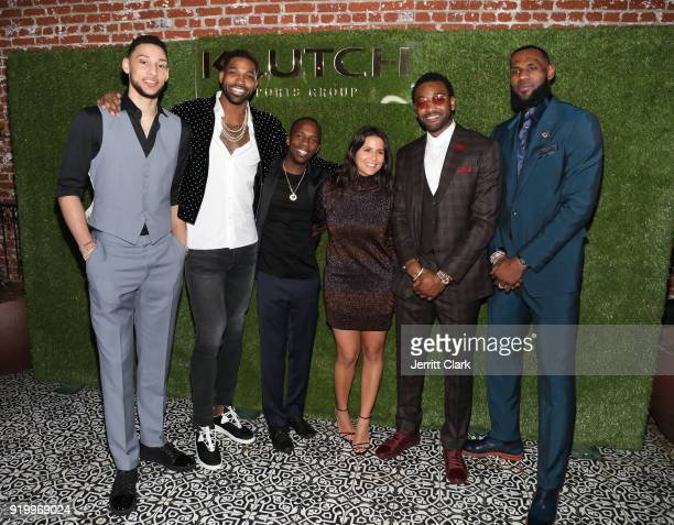 Klutch Sports founder Rich Paul and COO Fara Leff pose with NBA Players Ben Simmons Tristan Thompson John Wall and Lebron James attend attends the...