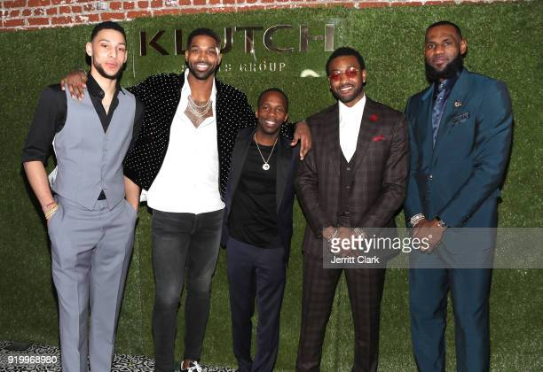 Klutch Sports founder Rich Paul poses with NBA Players Ben Simmons Tristan Thompson John Wall and Lebron James attend attends the Klutch Sports Group...