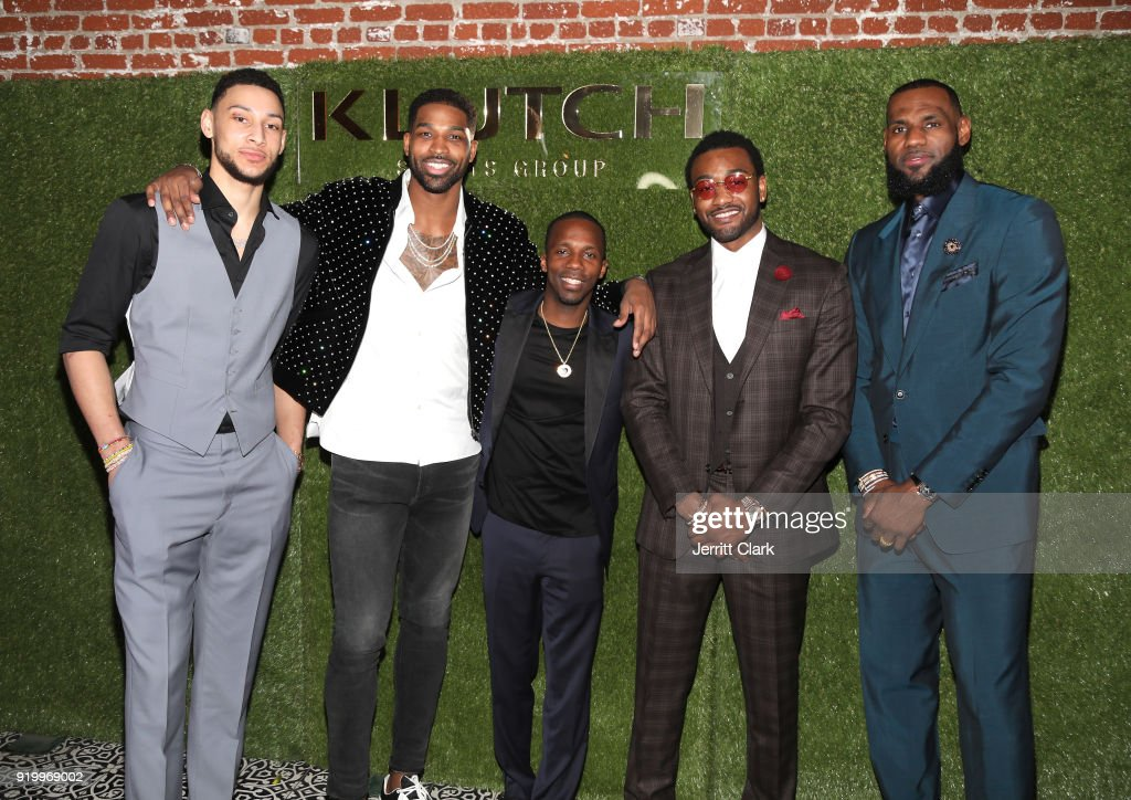 Klutch Sports founder Rich Paul (C) poses with NBA Players Ben Simmons, Tristan Thompson, John Wall and Lebron James attend attends the Klutch Sports Group 'More Than A Game' Dinner Presented by Remy Martin at Beauty & Essex on February 17, 2018 in Los Angeles, California.