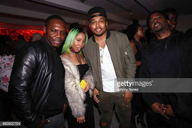 KMack Liana Banks DJ Whuteverand Obie attend the Rick Ross and Mr Brainwash Rather You Than Me Album Listening Experience on March 8 2017 in New York...