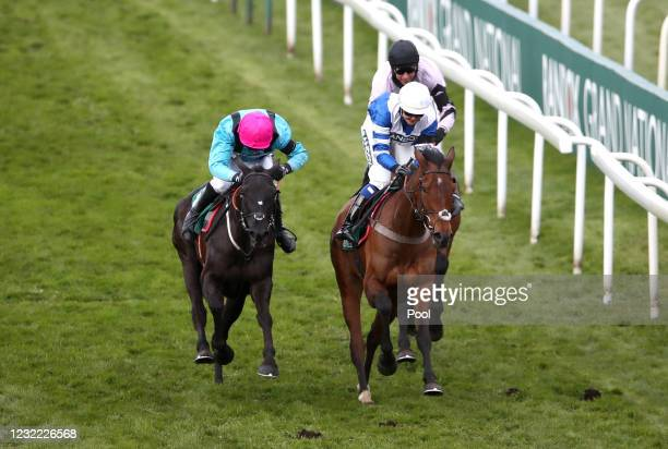 Knappers Hill ridden by Megan Nicholls wins The Weatherbys nhstallions.co.uk Standard Open NH Flat Race during Grand National Day of the 2021 Randox...