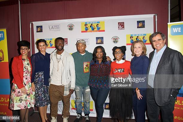 Knatokie Ford Veronica Melvin Aldis Hodge Pharrell Williams Octavia Spencer Janelle Monáe Megan Chernin and Peter Chernin attend the LA Promise Fund...