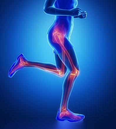 Knee, hip, ankle - running man leg scan in blue 611783778