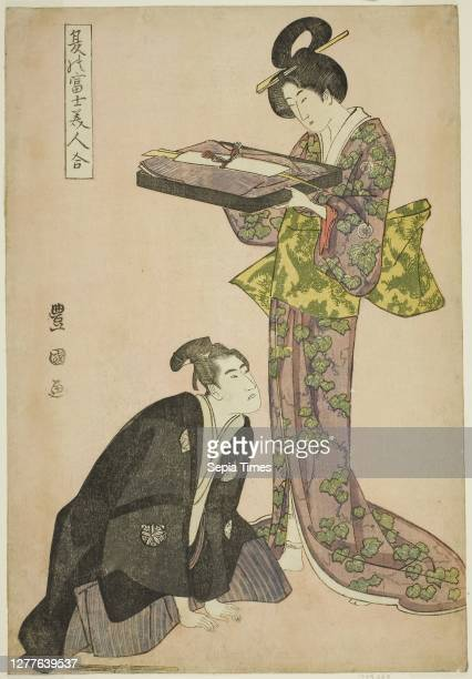 Kneeling actor and standing beauty holding a tray of clothes, from the series Fuji in Summer Matched with Beautiful Women Utagawa Toyokuni I,...