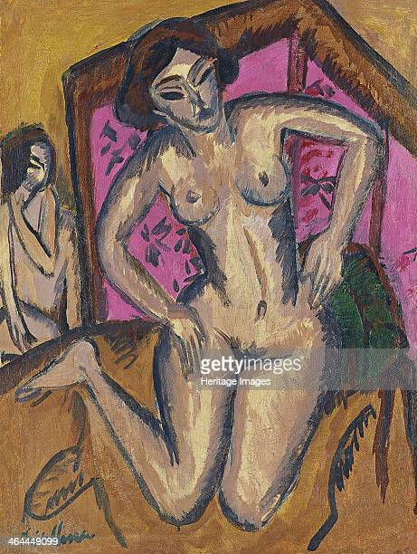 Kneeling Nude in front of Red Screen, ca 1911-1912. Found in the collection of the Thyssen-Bornemisza Collections.