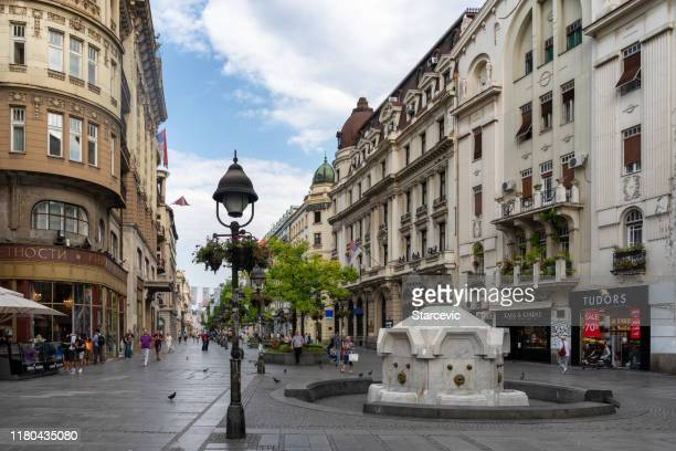 knez mihailova street - main street in belgrade - belgrade serbia stock pictures, royalty-free photos & images