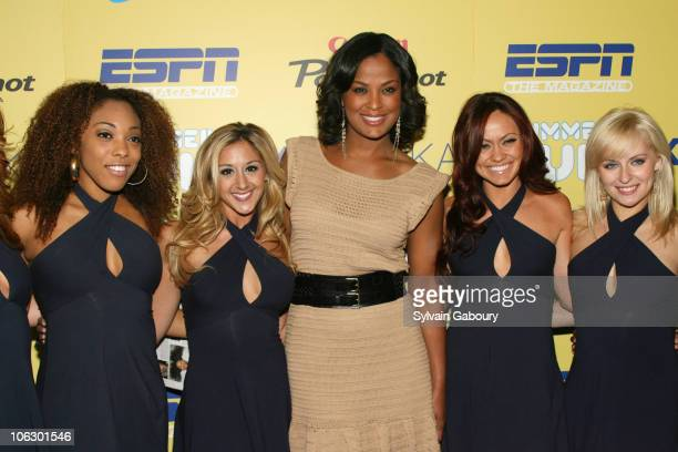 Knick City Dancers and Laila Ali during ESPN Magazine Summer Fun Party Arrivals at Pier 59 at Chelsea Piers in New York City New York United States