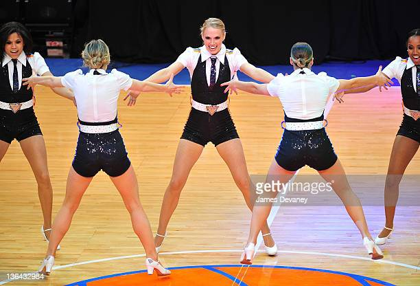 Knicks City Dancers perform at the Charlotte Bobcats vs the New York Knicks game at Madison Square Garden on January 4 2012 in New York City