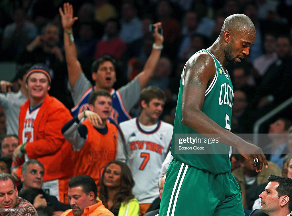 Knicks fans let the Celtics Kevin Garnett hear from them as he heads for the bench after picking up his fifth foul of the game. The Boston Celtics visited the New York Knicks for Game Two of an NBA Eastern Conference Quarter Final series at Madison Square Garden.