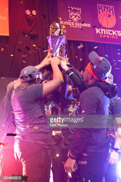 Knicks Gaming celebrate after Game Two of the 2018 NBA 2K League Finals on August 25 2018 at the NBA 2K Studio in Long Island City New York NOTE TO...