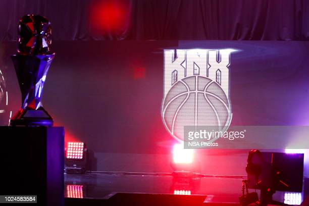 Knicks Gaming signage is photographed during Game One of the 2018 NBA 2K League Finals on August 25 2018 at the NBA 2K Studio in Long Island City New...