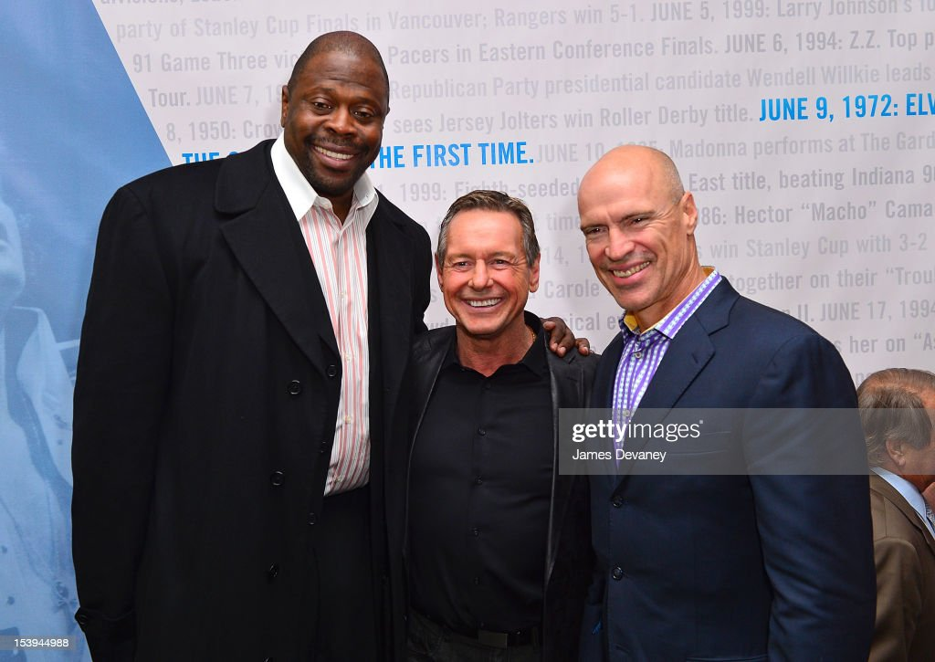 NY Knicks Legend Patrick Ewing, WWE Hall of Famer ÒRowdyÓ Roddy Piper and NY Rangers Legend Mark Messier attend Madison Square Garden's 'Garden 366' And 'Defining Moments' Exhibition Openings at Madison Square Park on October 11, 2012 in New York City.