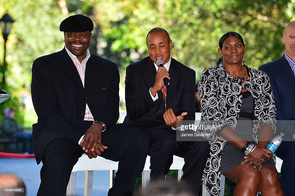 NY Knicks Legends Patrick Ewing, John Starks and NY Liberty Great Kym Hampton attend Madison Square Garden's 'Garden 366' And 'Defining Moments' Exhibition Openings at Madison Square Park on October 11, 2012 in New York City.