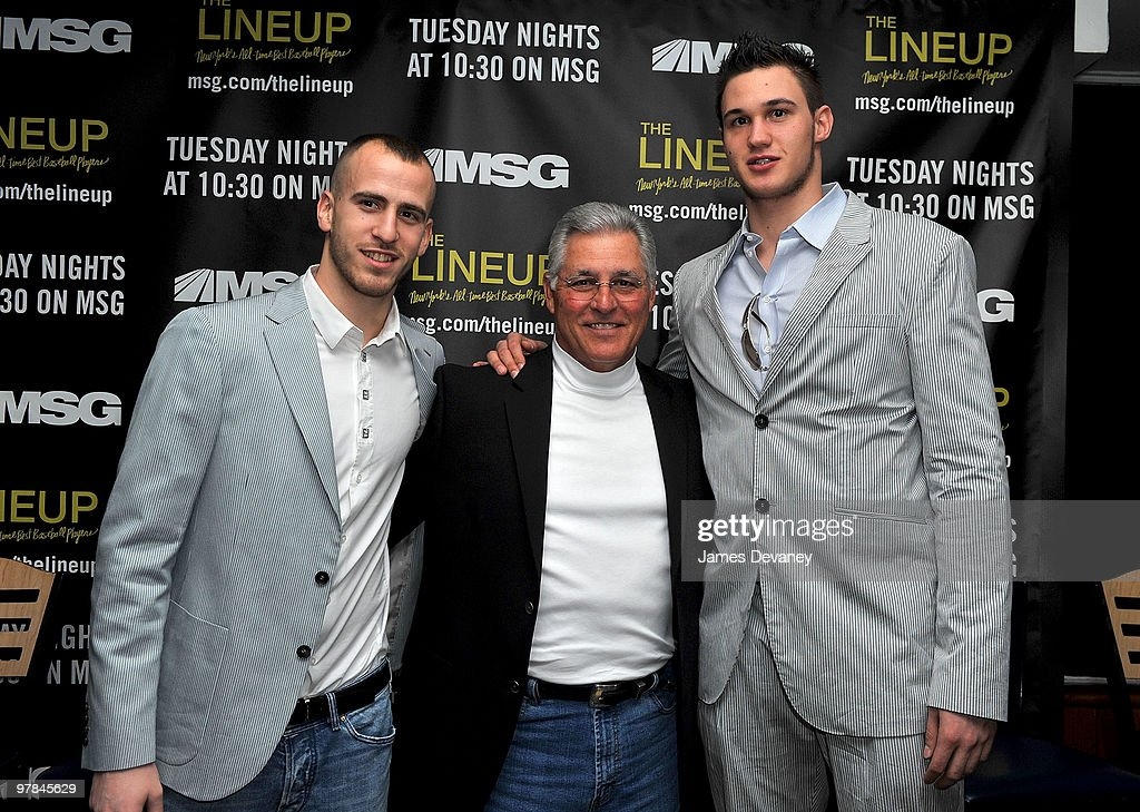 Knicks player Sergio Rodriguez, Bucky Dent and Knicks player Danilo Gallinari attend launch party for the MSG Network premiere of 'The Lineup: New York�s All-Time Best Baseball Players' at Mickey Mantle's Restaurant & Sports Bar on March 18, 2010 in New York City.