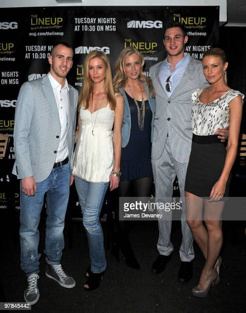 Knicks player Sergio Rodriguez, Camilla Thorsson, Jennifer Ohlsson, Knicks player Danilo Gallinari and Paige Butcher attend launch party for the MSG...