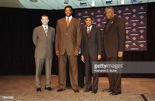 Knicks President and General Manager Scott Layden Patrick Ewing Steve Mills and John Thompson pose for a portrait during a press conference for the...