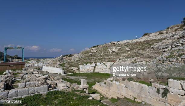 knidos amphiteather near the sea on a sunny day ,mugla province. - emreturanphoto stock pictures, royalty-free photos & images