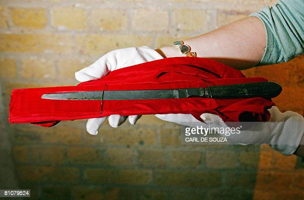 A knife allegedly used by serial killer Jack the Ripper is displayed at a press preview of the 'Jack the Ripper and the East End' exhibition at...