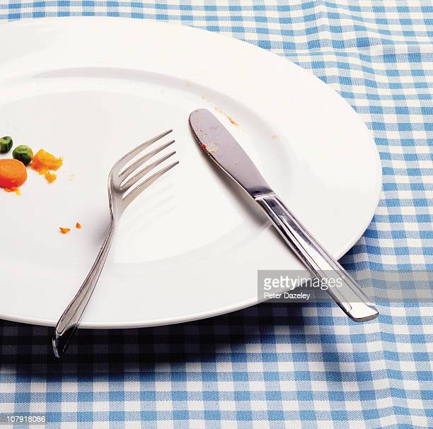 Knife and fork on finished dinner plate