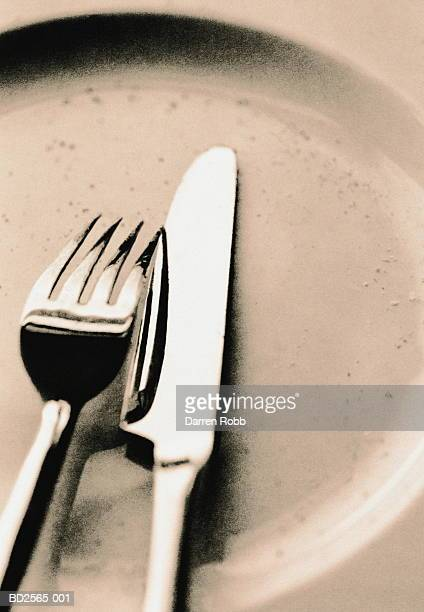 knife and fork on plate, elevated view, close-up (toned b&w) - ペア ストックフォトと画像
