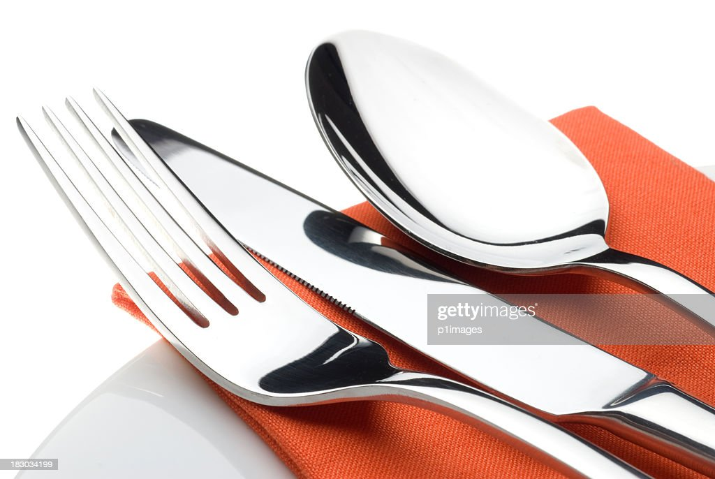 Knife, fork and spoon : Stockfoto