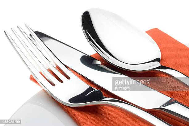 knife, fork and spoon - silverware stock pictures, royalty-free photos & images