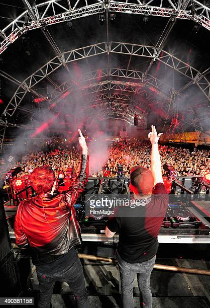 Knife Party performs onstage during day 3 of the 2015 Life is Beautiful festival on September 27 2015 in Las Vegas Nevada