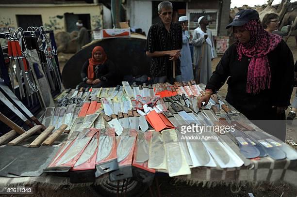 A knife seller in Cairo's camel market Berqash arranges the knives on September 27 2013 in Berqash camel market south of Cairo Egypt The market is...