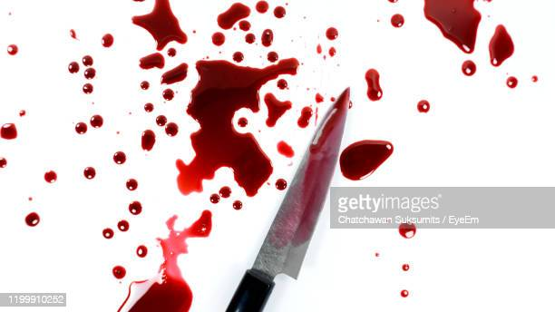 knife with human blood on white background - sangre humana fotografías e imágenes de stock