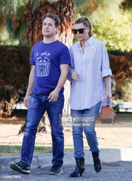 T R Knight and Ellen Pompeo are seen on March 06 2020 in Los Angeles California