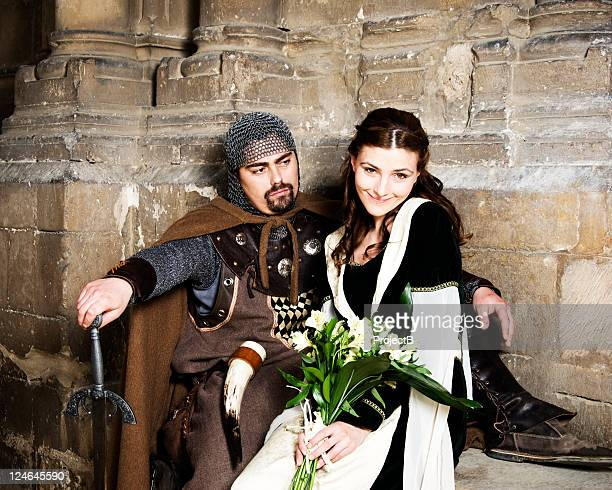 knight and princess - excalibur stock photos and pictures