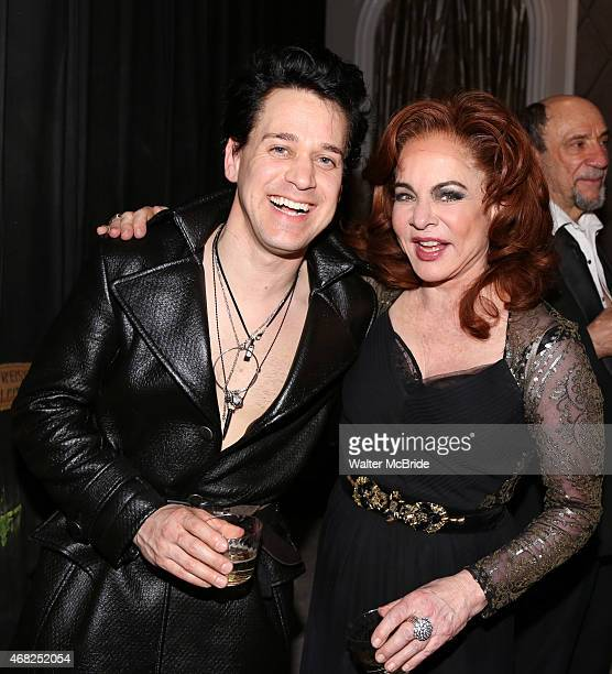 R Knight and Stockard Channing during a backstage champagne celebration to welcome original cast member Nathan Lane and new cast member TR Knight to...