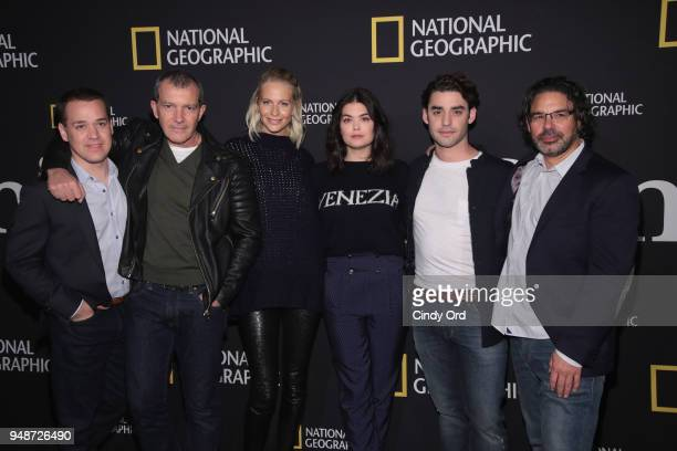 TR Knight Antonio Banderas Poppy Delevingne Samantha Colley Alex Rich and Ken Biller attend the 'Genius Picasso' interactive experience at the Genius...