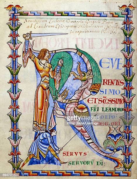 'Knight fighting the dragon Miniature painting from the manuscript 'Moralia in Job' by Pope Gregory from Citeaux Abbey 1111 Dijon Municipal Library...